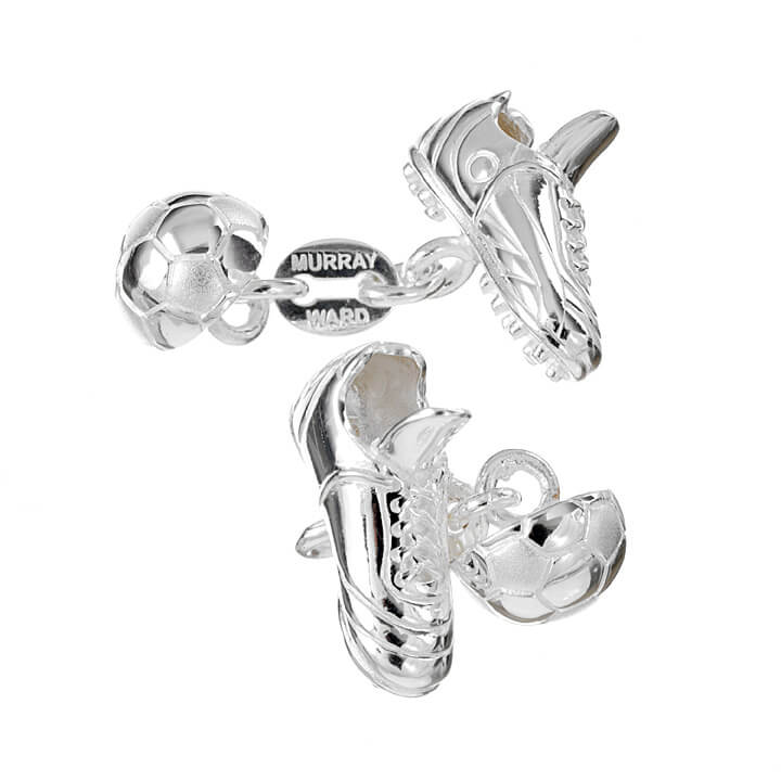 Sterling Silver Football and Boot Cufflinks