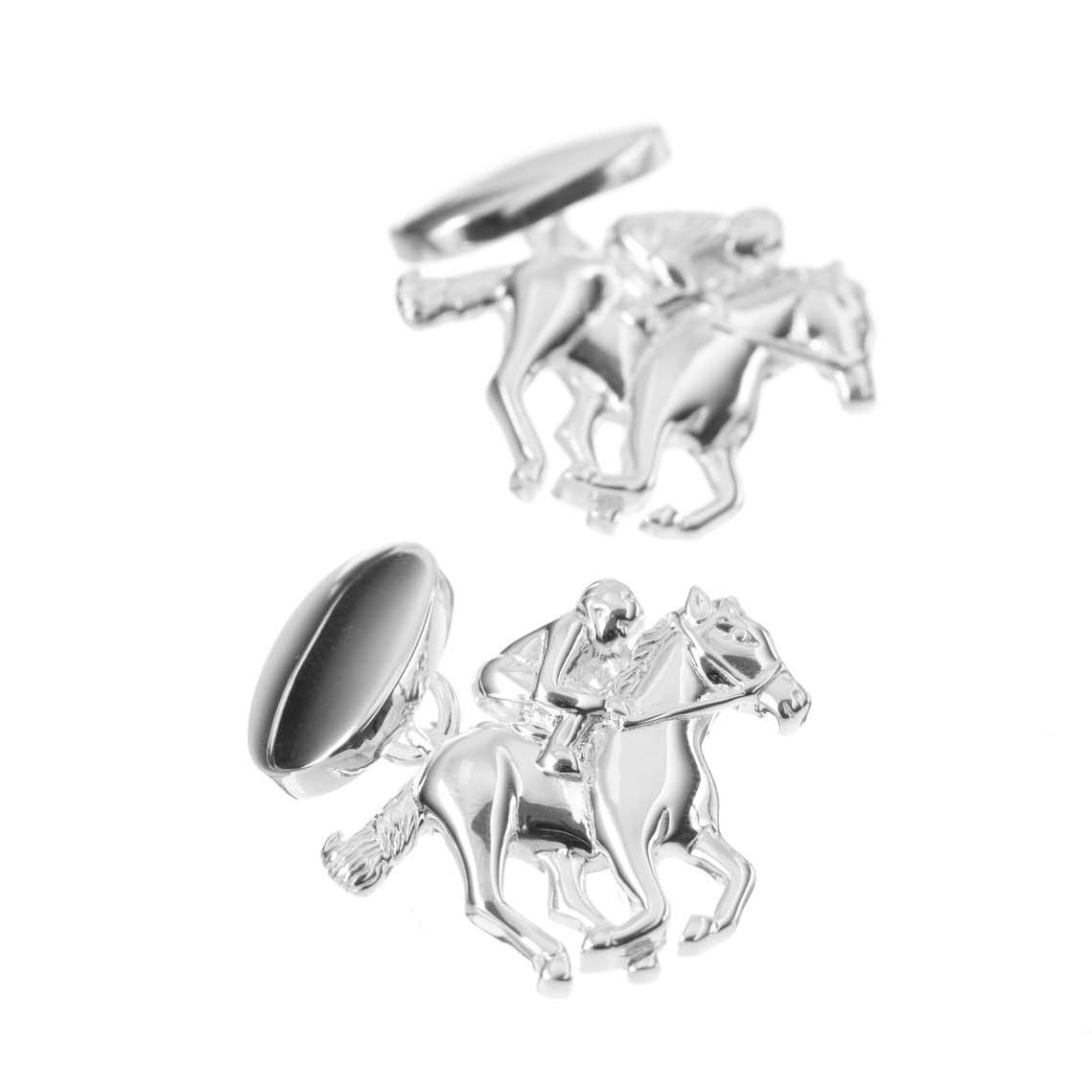 Sterling Silver Racehorse and Jockey Cufflinks