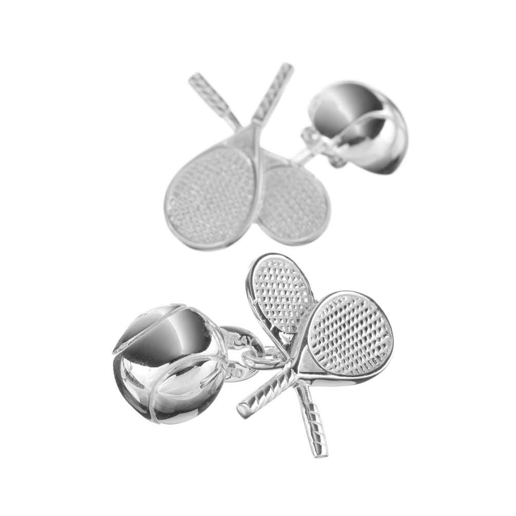 Sterling Silver Double Racquet and Ball Cufflinks