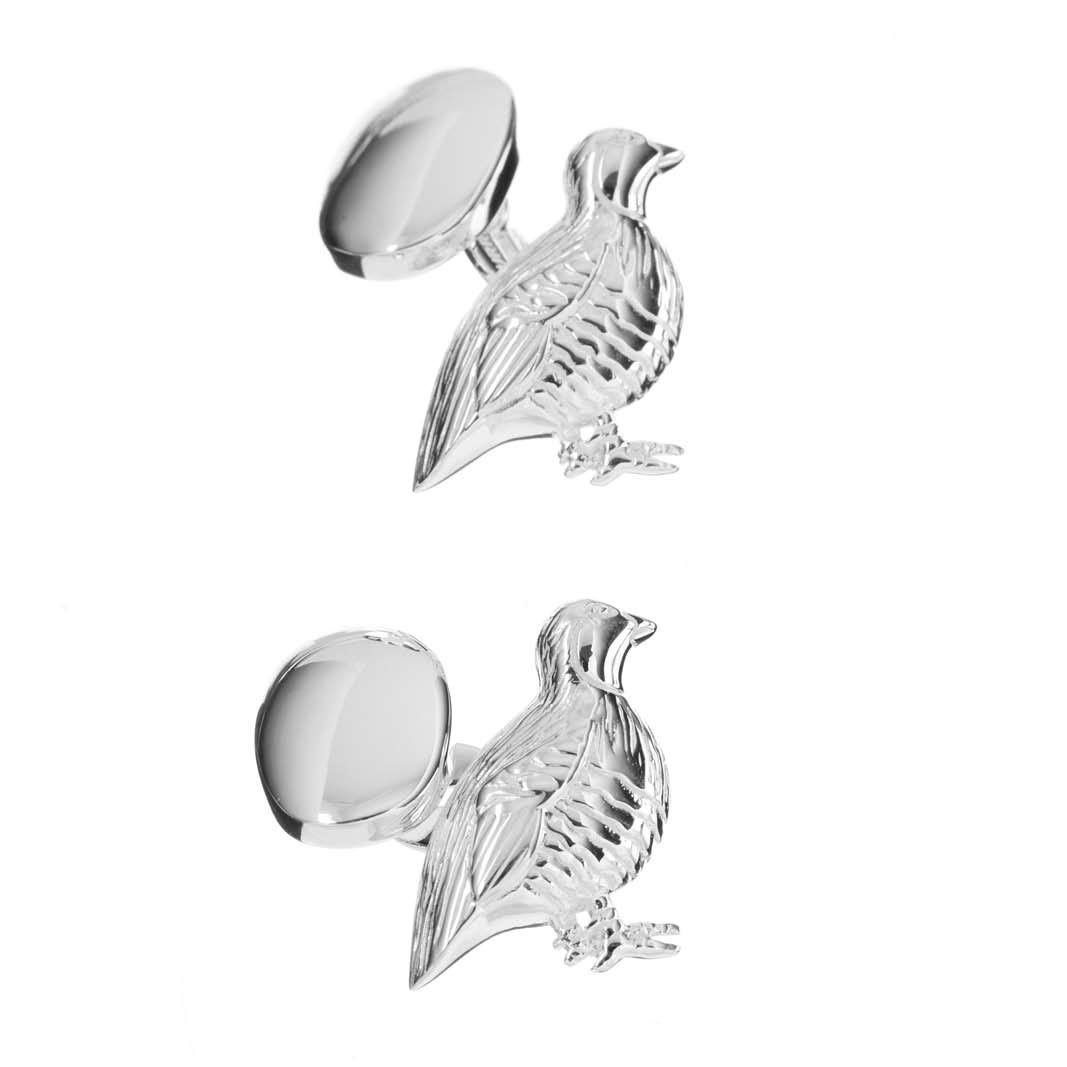 Sterling Silver Partridge Cufflinks