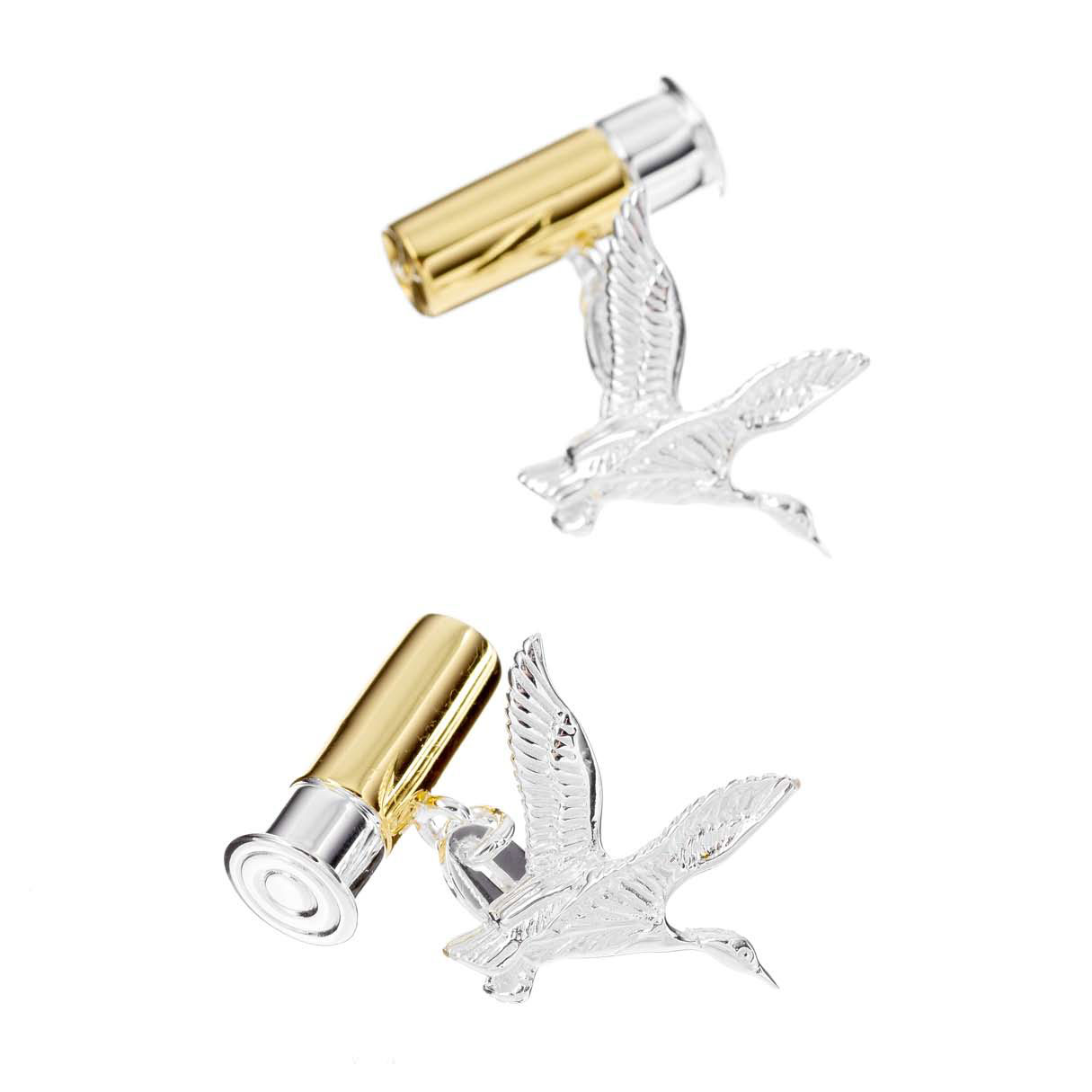 Flying Duck and Gun Cartridge Cufflinks in Gunmetal and Gilt