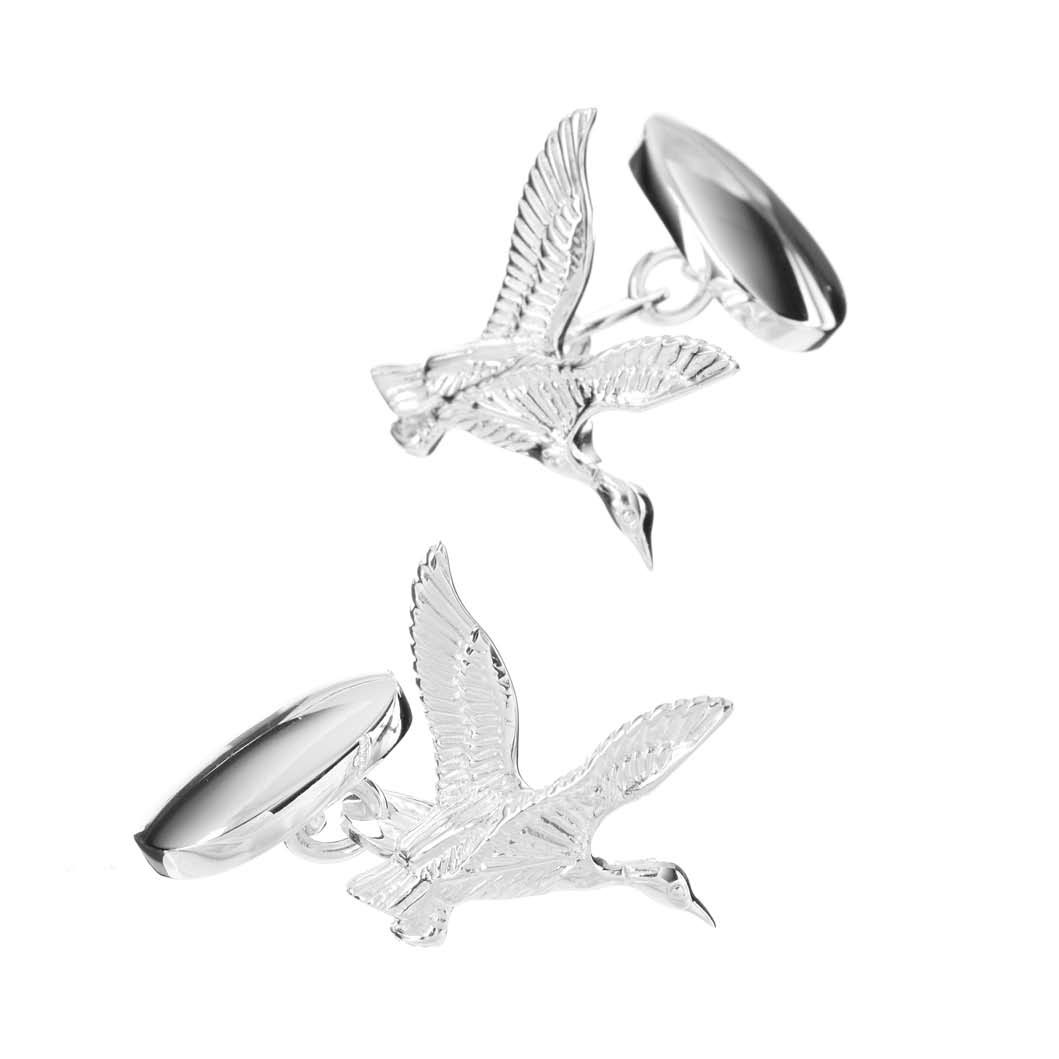Sterling Silver Flying Duck Cufflinks