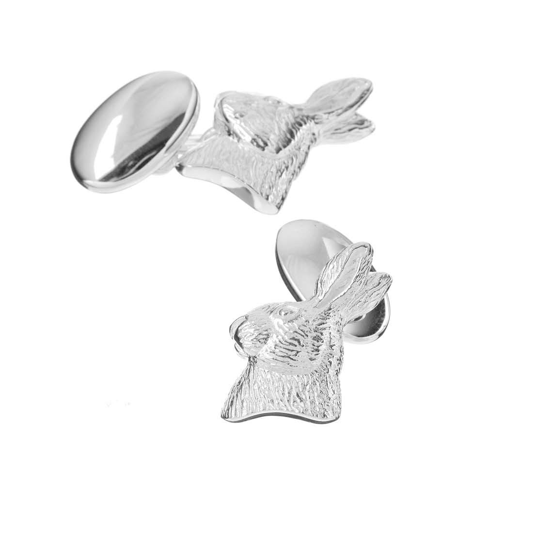 Sterling Silver Hare Cufflinks