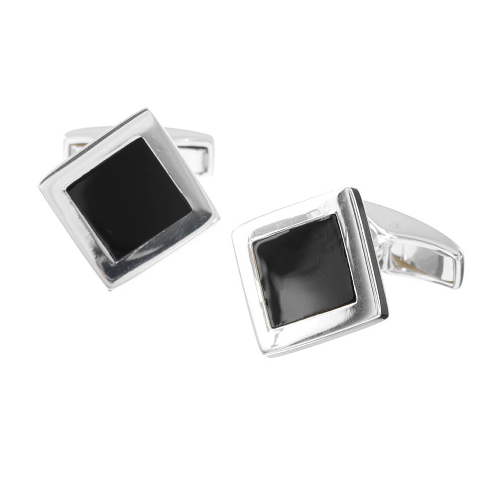 Sterling Silver Square Onyx Centre Cufflinks
