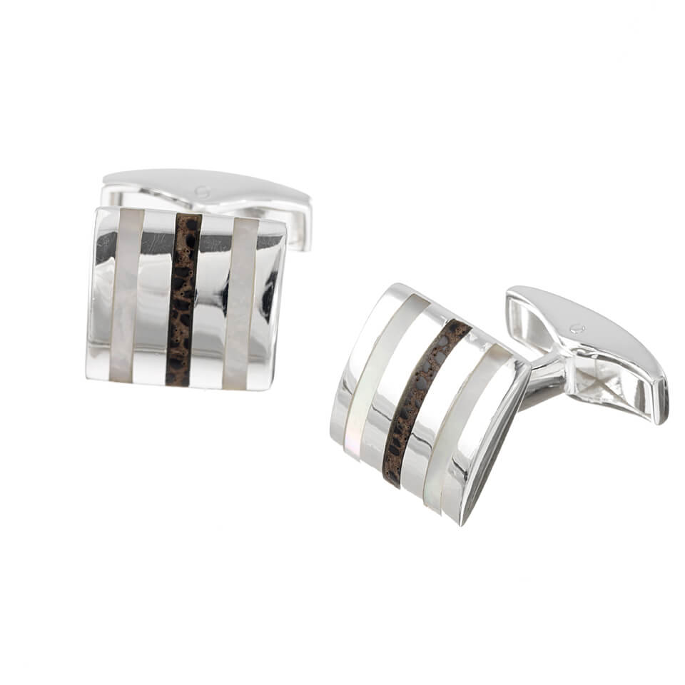 Sterling Silver Square Striped Mother of Pearl Cufflinks