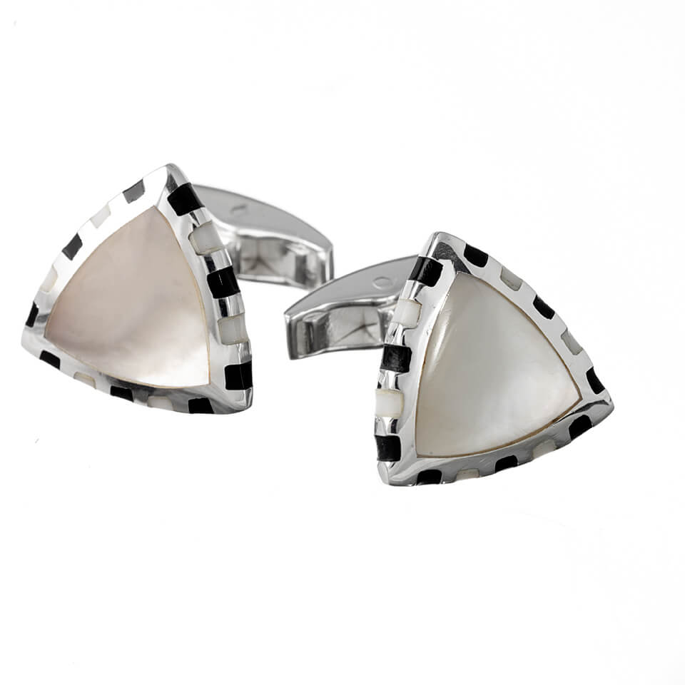 Sterling Silver Triangle Mother of Pearl with Inlaid Edges Cufflinks