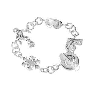 Sterling Silver Snowboarding Charm Bracelet