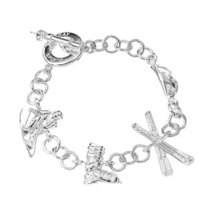 Sterling Silver Skiing Charm Bracelet