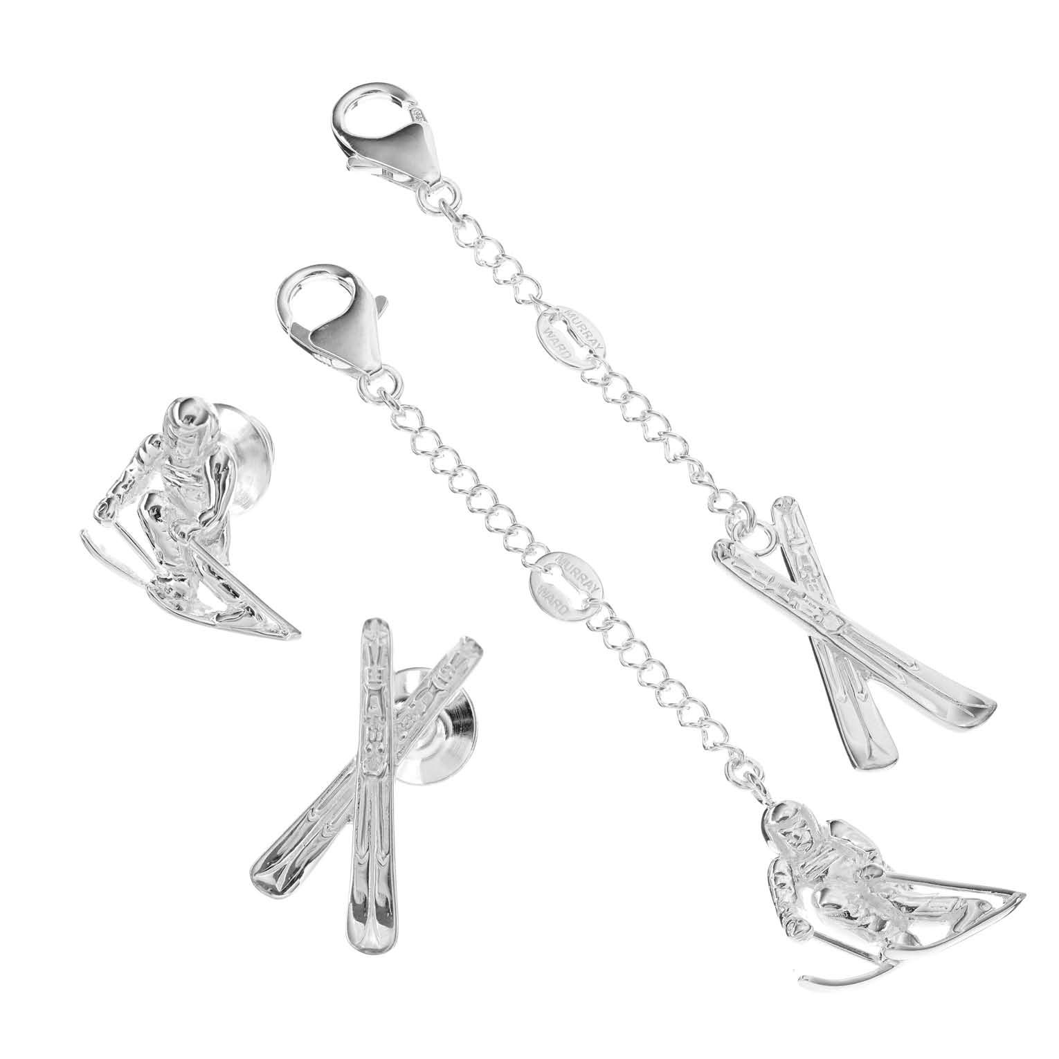 Various Sterling Silver Skiing Charms