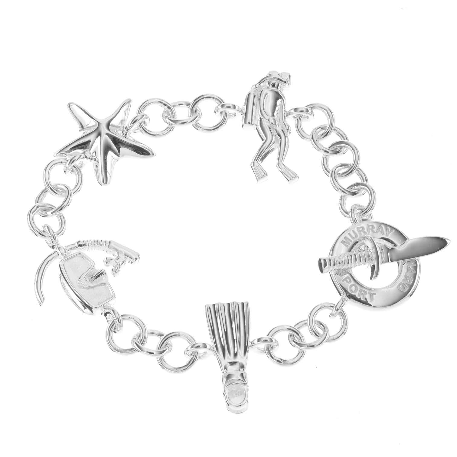 Sterling Silver Diving Charm Bracelet