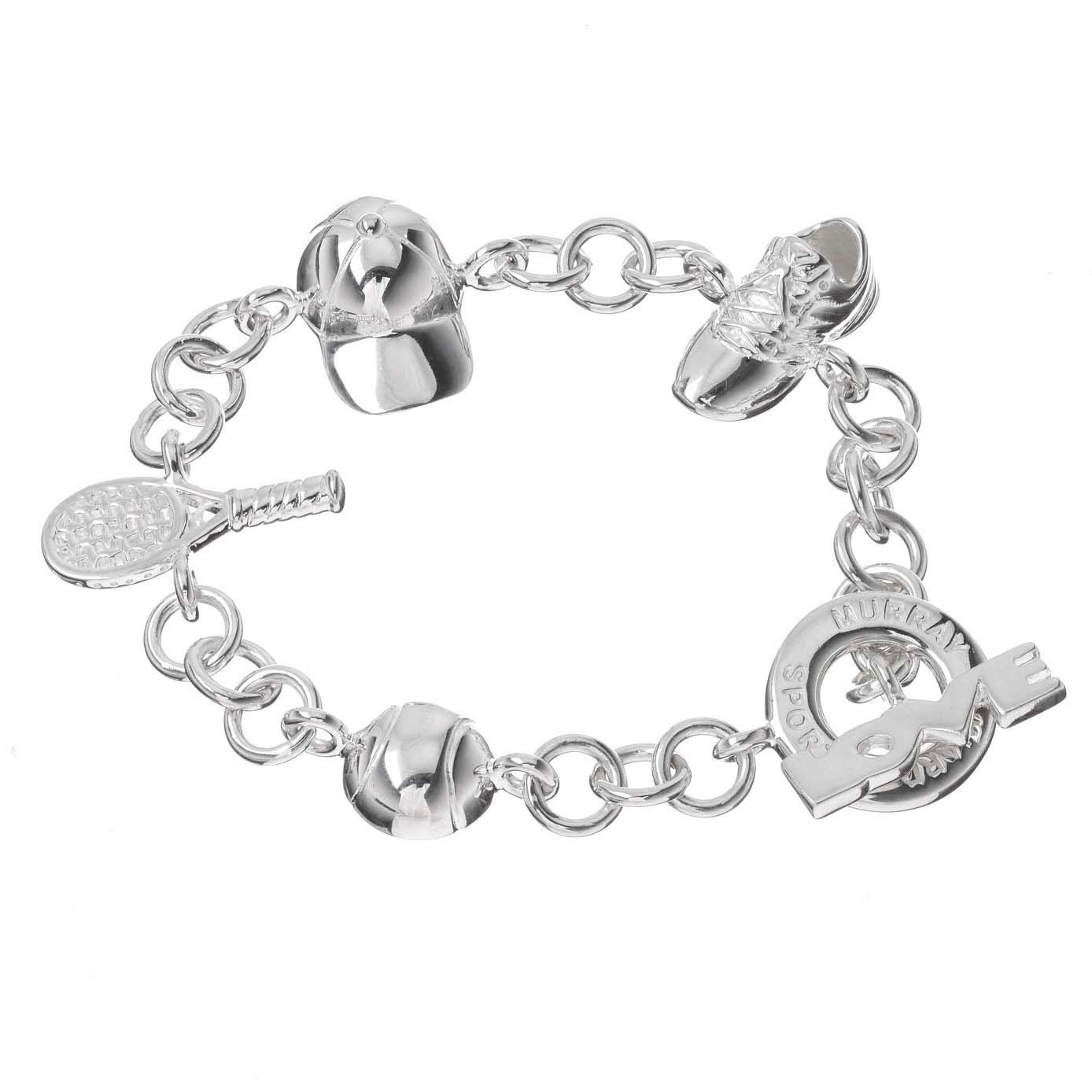 Sterling Silver Tennis Charm Bracelet
