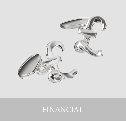 Sterling Silver Financial Cufflinks and Jewellery