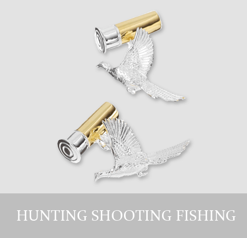Sterling Silver Hunting Shooting Fishing Cufflinks and Jewellery