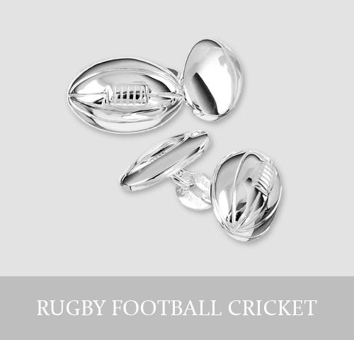 Sterling Silver Rugby, Football, Cricket Cufflinks and Jewellery