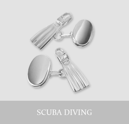 Sterling Silver Scuba Diving Cufflinks and Jewellery