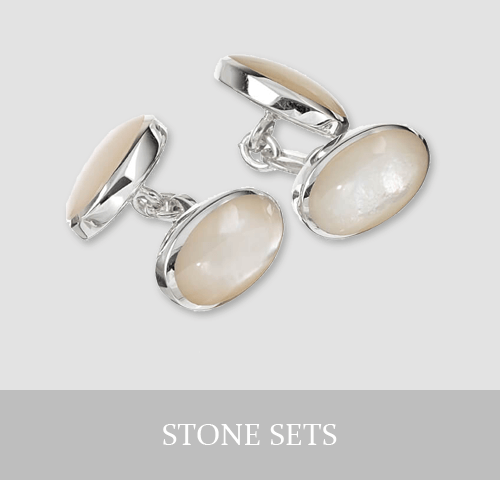 Sterling Silver Stone Set Cufflinks and Jewellery
